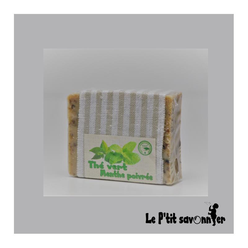 Thé vert-Menthe, savon Mère nature Saponifié à Froid - SAF - Le P'tit Savonnier