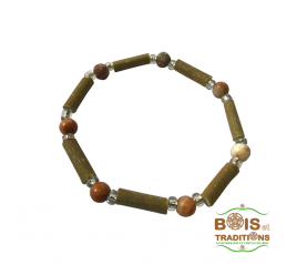 Bracelet thérapie bois de noisetier marron - Bois et traditions